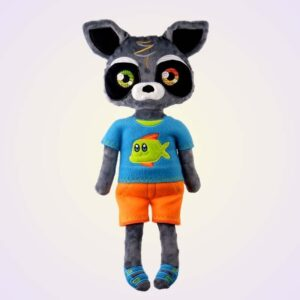Racoon boy and boy doll ith machine embroidery design pattern project