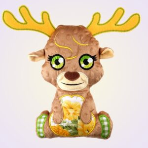 ITH machine embroidery stuffed toy moose reindeer