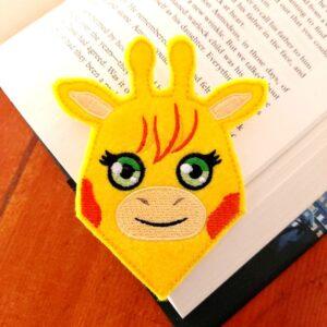 ith machine embroidery giraffe felt bookmark