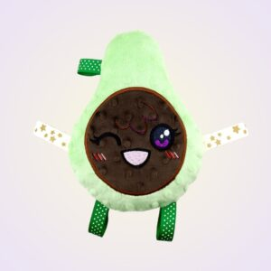 Avocado stuffed toy ith machine embroidery design pattern project