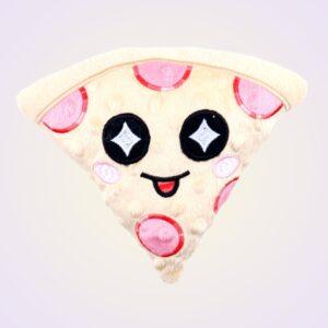 Pizza kawaii stuffed toy ith machine embroidery design pattern project