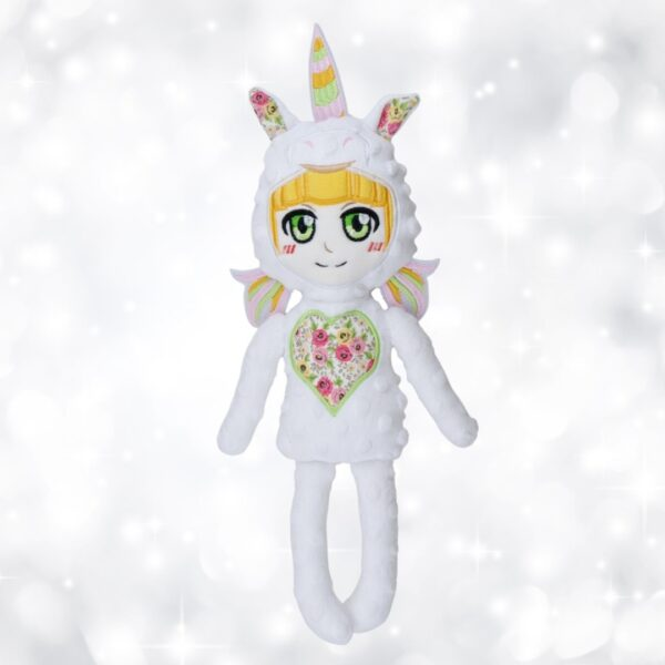 unicorn rainbow doll machine embroidery in the hoop project pattern design
